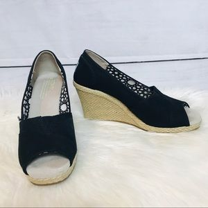 Toms Black Canvas Espadrille Wedges